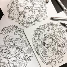 printable coloring pages sailor moon luna chibi moon fan art