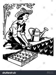 vintage martini clipart woman planting garden retro clipart illustration stock vector