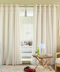 best home fashion beige lace overlay blackout window panel set