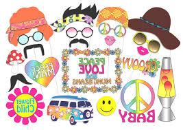 printable hippie photo booth props hippie party photo booth props set 24 piece printable 60s hippie