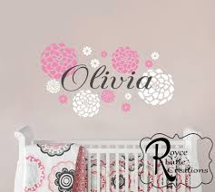 Best Wall Decals For Nursery Ba Nursery Decal Ba Name And Dahlia Flowers 36x20 With