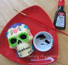 day of the dead appetizer decorated sugar skull made out of