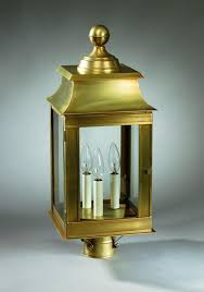 l post light socket pagoda post dark brass medium base socket with chimney clear glass