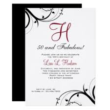 red and black 50th birthday invitations u0026 announcements zazzle
