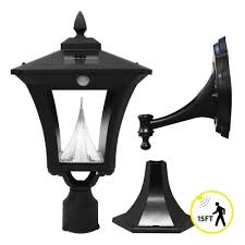 solar powered outdoor l post lights gama sonic weston motion sensing solar outdoor led light pole post