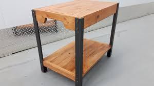 end table industrial steel u0026 reclaimed recycled pallet wood w