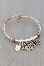 themed charm bracelet tri tone fall themed charm bangle bracelet wholesale accessory