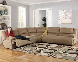 remarkable microfiber reclining sectional sofa with camel