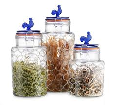 country kitchen rooster canisters set three 3 round clear