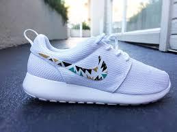 rosch run custom nike roshe run sneakers for women all white black and gold