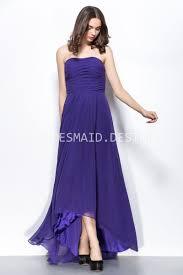 regency chiffon strapless high low unique bridesmaid dress