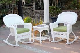 White Outdoor Wicker Furniture Sets 3 Piece Ariel White Resin Wicker Patio Rocker Chairs U0026 Table