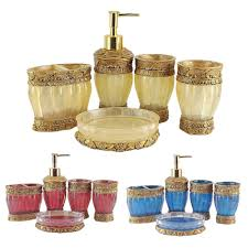 aliexpress com buy gold blue red 5 pcs bathroom set resin aliexpress com buy gold blue red 5 pcs bathroom set resin handcraft european royal bath accessory soap dish dispenser toothbrush holder wash cup from