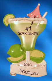 personalized bartender green with limes ornament ornaments