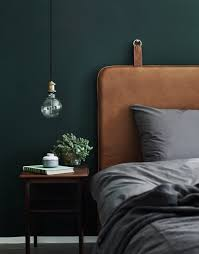 Bedroom Wall by Leather Headboard With Dark Wall Color And Lots Of Texture