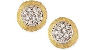 gold diamond stud earrings lyst marco bicego jaipur 18k gold diamond stud earrings in metallic