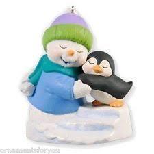 snow buddies snowman and hedgehog ornament