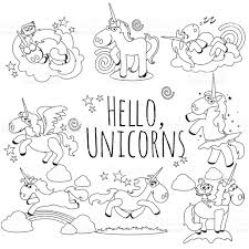 cute unicorn isolated line icon set magic pegasus flying with wing
