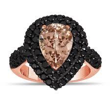 Black And Pink Wedding Rings by Pink Peach Morganite U0026 Black Diamond Engagement Ring 3 13 Carat