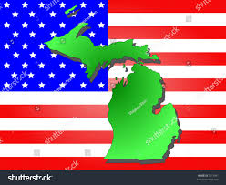 Map Of Michigan State by Map Of The State Of Michigan And American Flag Stock Vector
