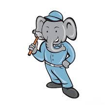 elephant builder holding hammer cartoon digital art by aloysius