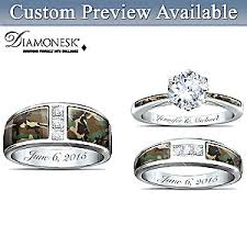 wedding ring set camo his and hers personalized engraved wedding ring set