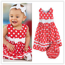 cute baby suit baby dress red dress with round dot and