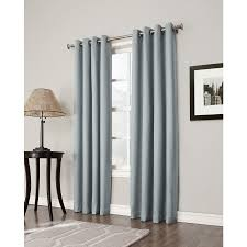 shop allen roth bandley 84 in sky blue polyester grommet