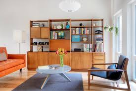 Midcentury Modern Sofas - mid century bookcase living room scandinavian with midcentury