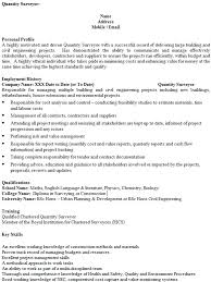quantity surveyor cv example u2013 cover letters and cv examples