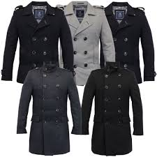 mens wool mix jacket cavani double breasted coat slim fit military