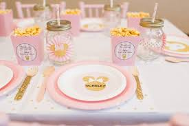 minnie mouse card table pink gold minnie mouse celebration