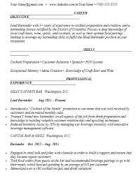 bartender resume format 21 free bartender resume sles sle resumes