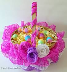 Easter Decorations For Wreaths by Tutorial For Creating A Ruffled Deco Mesh Easter Basket By Purple