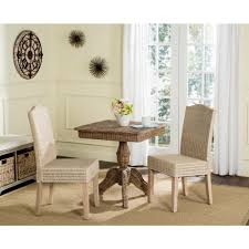 Safavieh Dining Chairs Safavieh Odette White Wash 19 In H Wicker Dining Chair Set Of 2