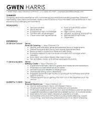 sample resume restaurant waiter cover letter sample resume for