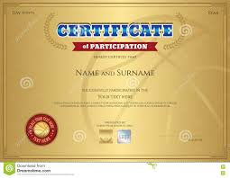 certificate of participation template with gold background in sp