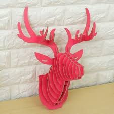 3d wooden elk head wall hanging craft diy model animal wildlife