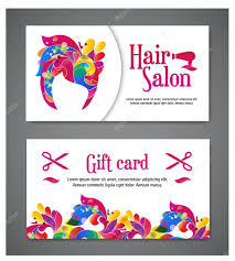 Salon Invitation Card Set Of Two Templates Of Gift Cards With Color Ornament For Print