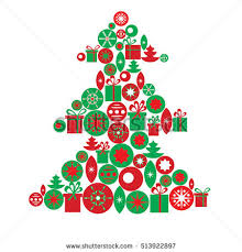 vector greeting card template christmas tree stock vector