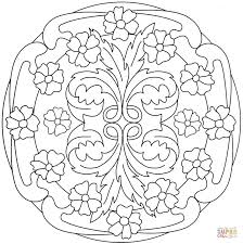 mandala with flower pattern coloring page free printable