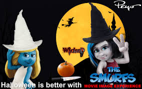 image smurfette and vexy go trick or treating jpg smurfs wiki