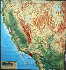California Map Large Extreme Raised Relief Map Of California And Nevada