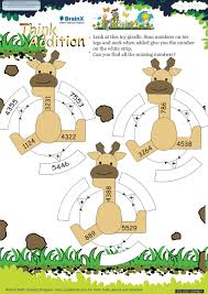 think addition math worksheet for grade 3 free u0026 printable