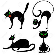 Cat Silhouette Halloween Set Of Halloween Black Cat With Green Eyes Vector Illustration