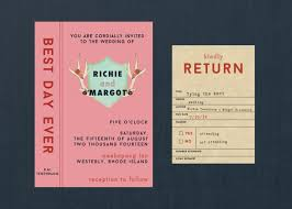 wes anderson styled library wedding invitation diy