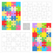 jigsaw puzzle blank templates and colorful patterns vector