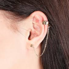 cuff earrings with chain ear cuff chain gold ear cuff stud earring avnis
