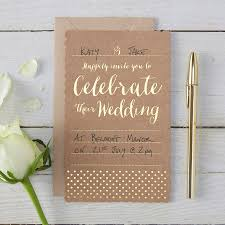 wedding invitations gold brown kraft and gold foiled wedding invitations by