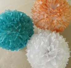 3 teal and coral poms teal coral wedding decorations tissue
